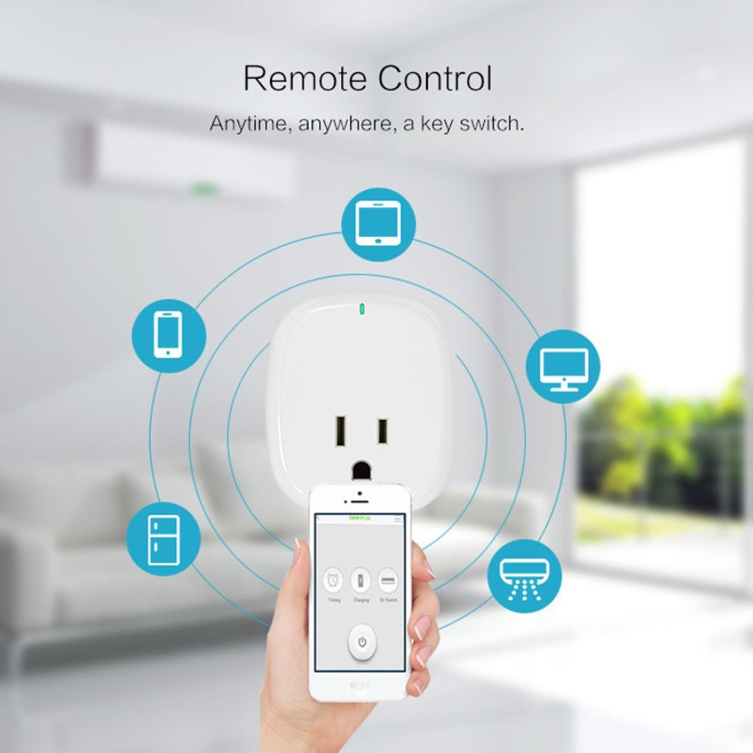 WIFI Smart Socket,Sunward Wireless Timing MINI Plug Outlet Works No Hub Required (White)