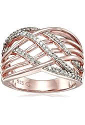 18k Rose Gold Over Sterling Silver Diamond Highway Ring (1/3cttw, I-J Color, I2-I3 Clarity), Size 7