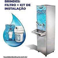 Bebedouro Industrial Coluna Inox 25 litros Frisbel + Kit Instalação e Filtro