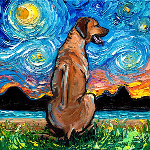 Rhodesian Ridgeback Starry Night Dog Art Print by Aja choose size and type of paper Wall - Pictures Rhodesian Dog Ridgeback