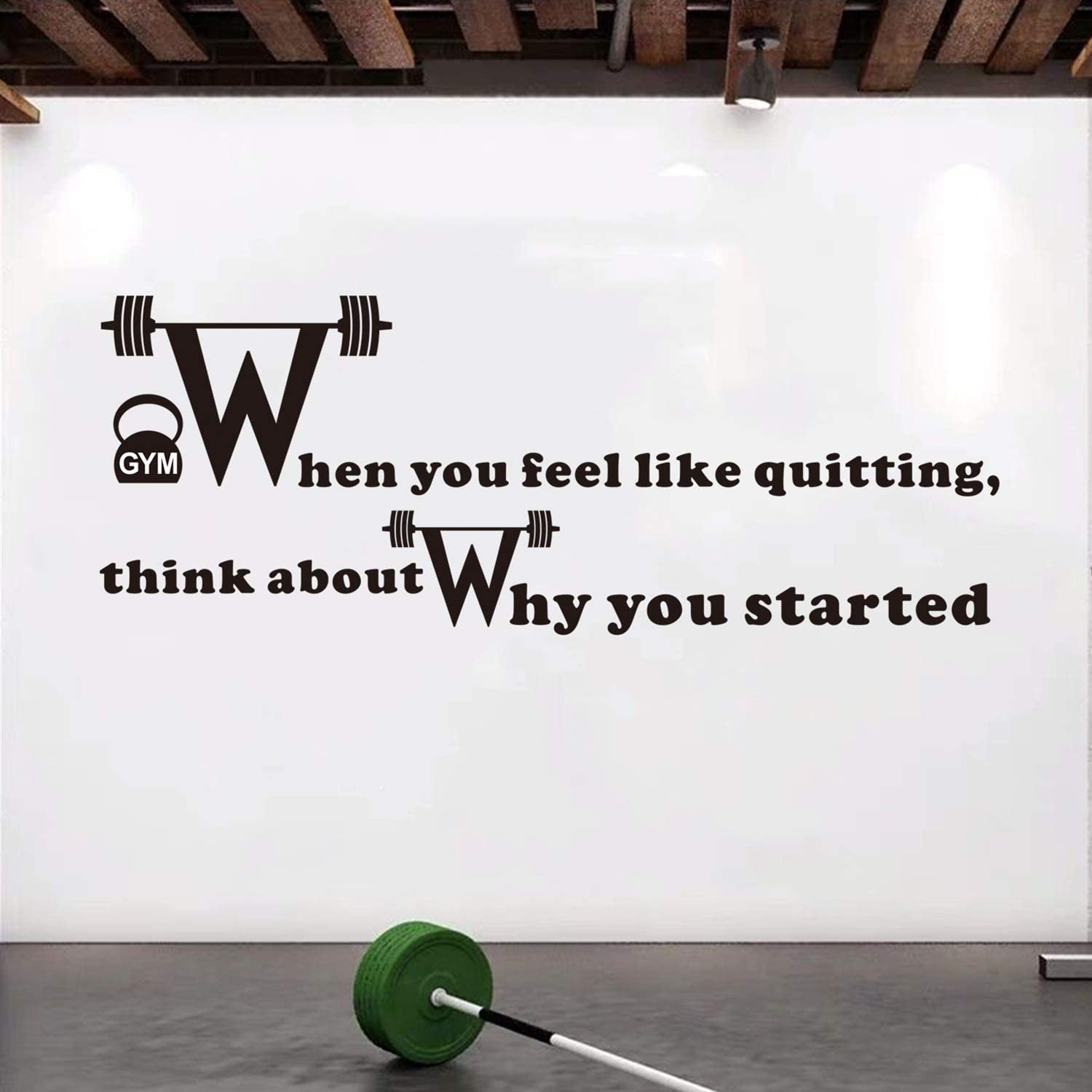 Amazon Com Vodoe Inspirational Wall Decals Gym Wall Decal Motivational Quote Fitness Sports Workout Art Home Indoor Exercise Decor Vinyl Stickers When You Feel Like Quitting Think About Why You Started 24 X9 Home