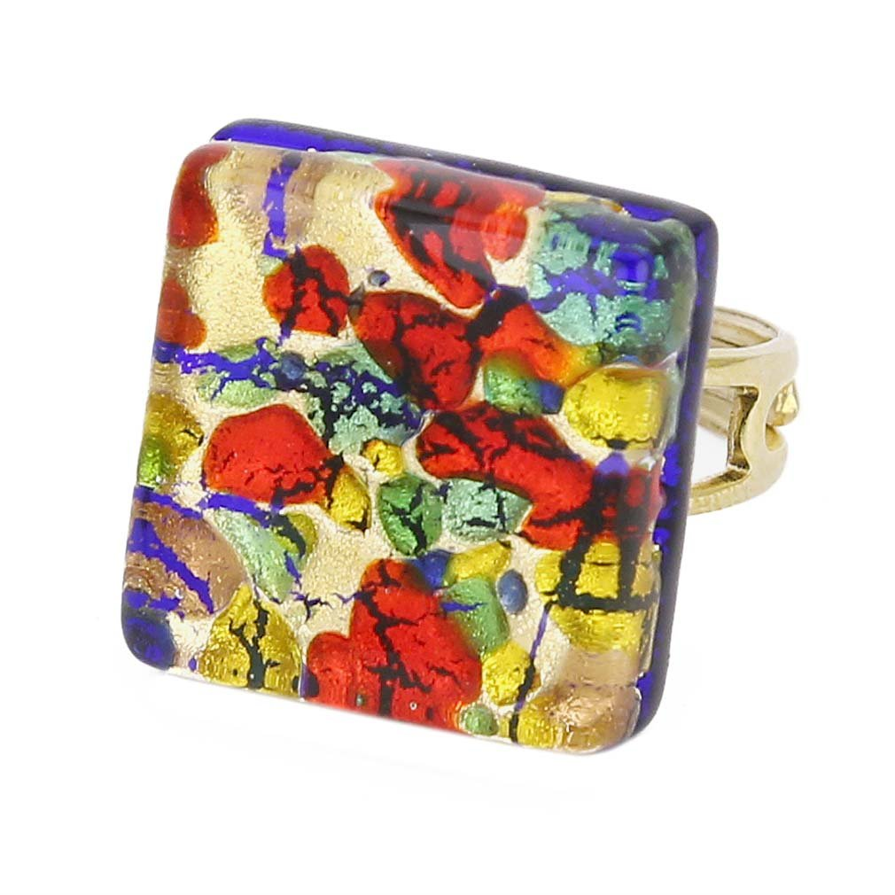 GlassOfVenice Murano Glass Venetian Reflections Square Adjustable Ring - Golden Mead