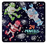 eeBoo Silver Robots Colored Pencils in Tin Case, Set of 24