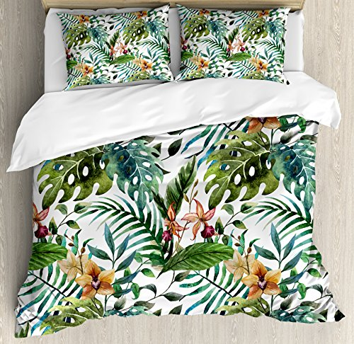 Ambesonne Leaf Duvet Cover Set, Vintage Retro 60s Seem Banana Palm Tree Leaves Flowers Hibiscus, Decorative 3 Piece Bedding Set with 2 Pillow Shams, Queen Size, Caramel Burgundy