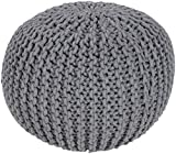 Surya MLPF-004 100-Percent Cotton Pouf, 20-Inch by 20-Inch by 14-Inch, Gray