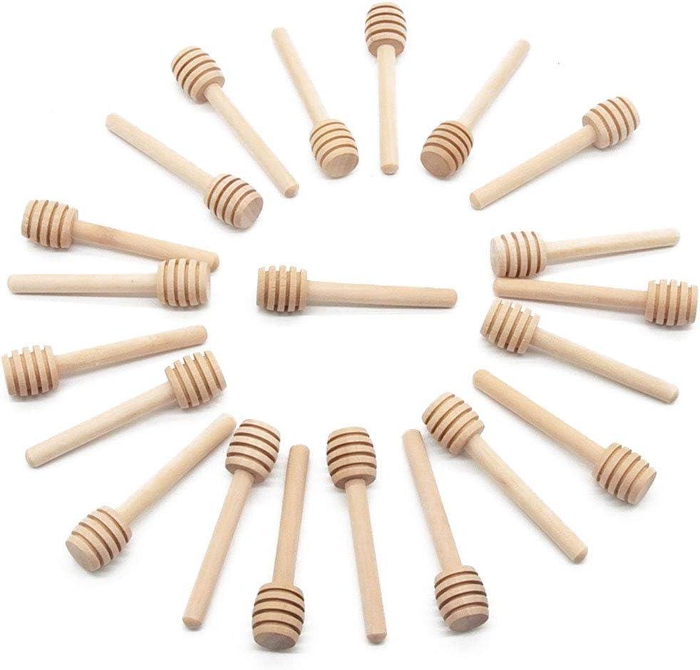 2//10x Mini 8cm Wooden Jam Honey Dipper Wood Stirring Rod Stick Tool Syrup Spoon