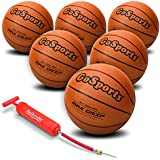 GoSports Indoor/Outdoor Rubber Basketball Six Pack with Pump & Carrying Bag