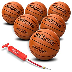 GoSports Indoor / Outdoor Rubber Basketball Six Pack with Pump & Carrying Bag