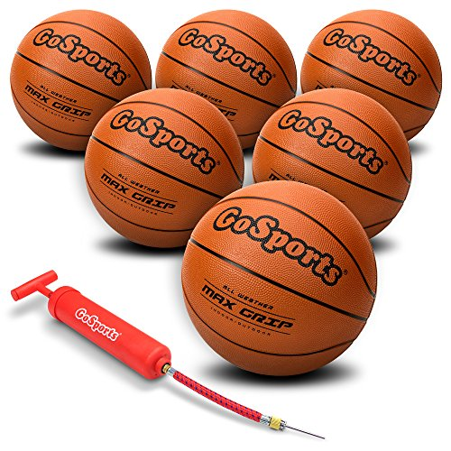 GoSports Indoor / Outdoor Rubber Basketballs - Six Pack of Size 6 with Pump & Carrying Bag -