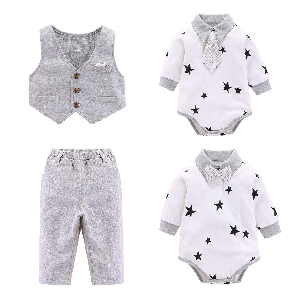 CARETOO Suit Baby Kids Boys Clothing Sets 3pc Romper Tuxedo with Long Sleeve Shirt Bow Tie Necktie Gentleman for Wedding and Party Pant Vest