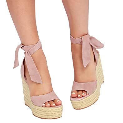 83561f43d72 Syktkmx Womens Platform Wedge Sandals Suede Peep Toe Strappy Lace Up Mid  Heel Espadrille Summer Dress