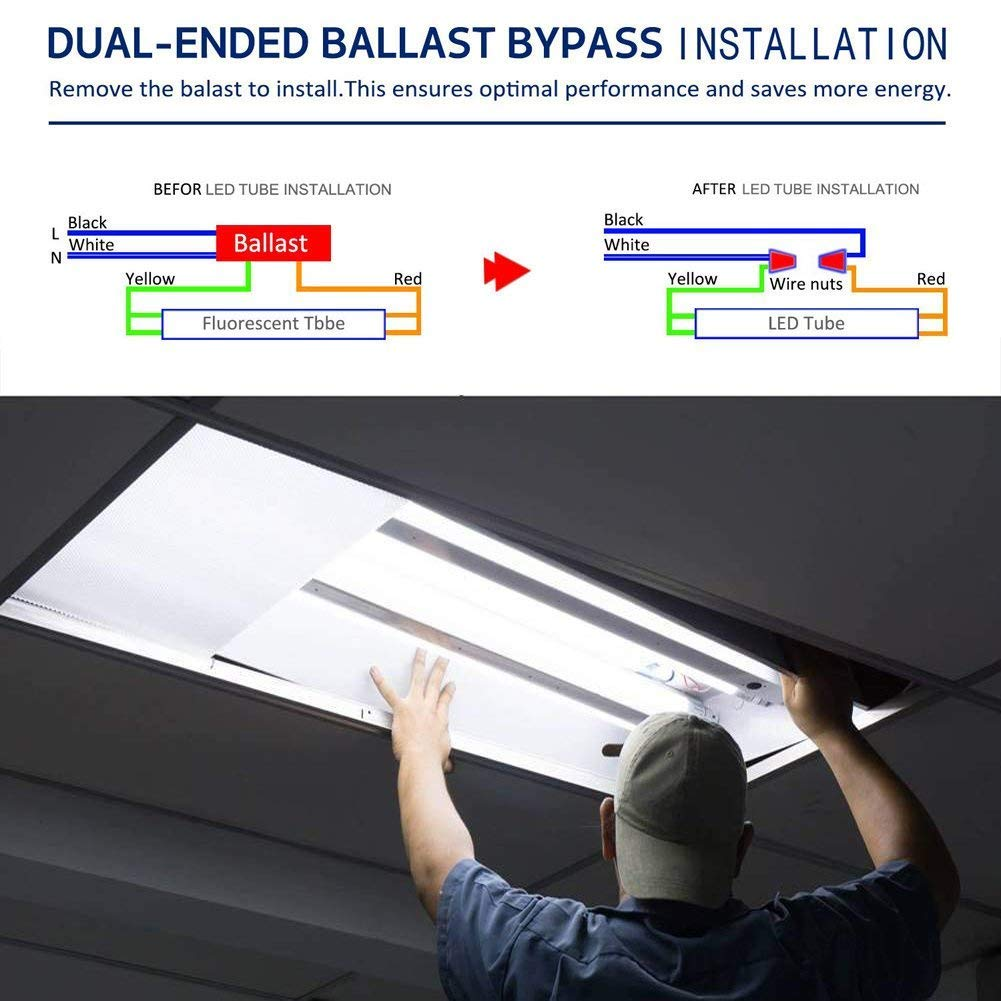 Bestka 8ft Led Shop Light Single Pin Fa8 Base Bulbs How To Install A Fluorescent Tube Bypassing Ballast Leds Lights 65w 7000lm 6000k Cold White 96 Dual Row 130w