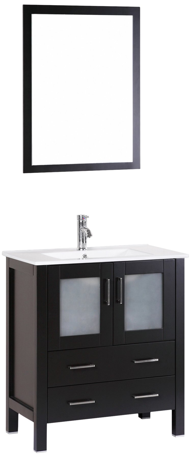 Bosconi Bathroom Vanities 30'' Classic Single Vanity With Integrated Rectangular Sink, Countertop, Cabinet, 2 Drawers, And Mirror, Espresso/Ceramic