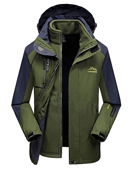 ICCZANA Men s Hooded Breathable Outdoor Hiking Windbreaker Green Waterproof  Rain Jacket L c612ab07e
