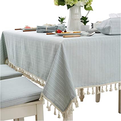 Amazoncom Modern Simple Cotton Blue And White Striped Tablecloth