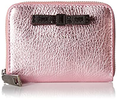 Metallic Bow Zip Card Case Wallet, PINK, One Size