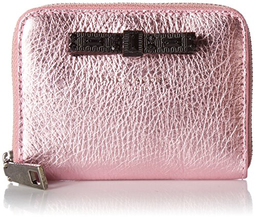 Marc Jacobs Women's Metallic Bow Zip Card Case, Pink One Size