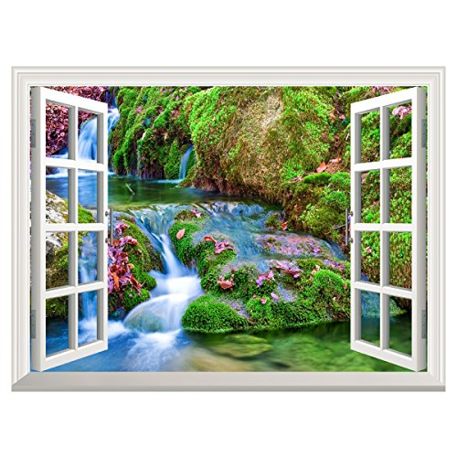 UNIQUEBELLA Forest Lake Scene 3D Window View Decal Large ...