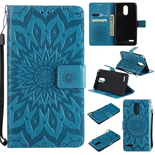 LG Stylo 3 Wallet Case, LG Stylus 3 Case,A-slim(TM) Sun Pattern Embossed PU Leather Magnetic Flip Cover Card Holders & Hand Strap Wallet Purse Case for LG Stylo 3 Plus LS777 - Blue