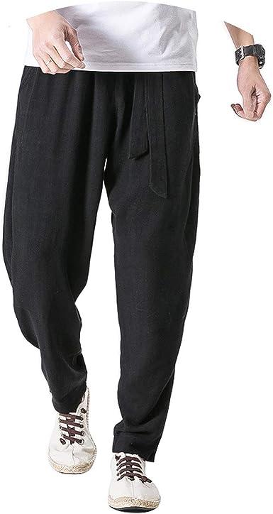 Linen Harem Pants Men Belt Jogger Pants Trousers Chinese Traditional Cloths