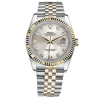 0f740c862ee88 Rolex Datejust 36 en Acier Or Jaune Cadran Montre en Acier argenté Diamant  116233