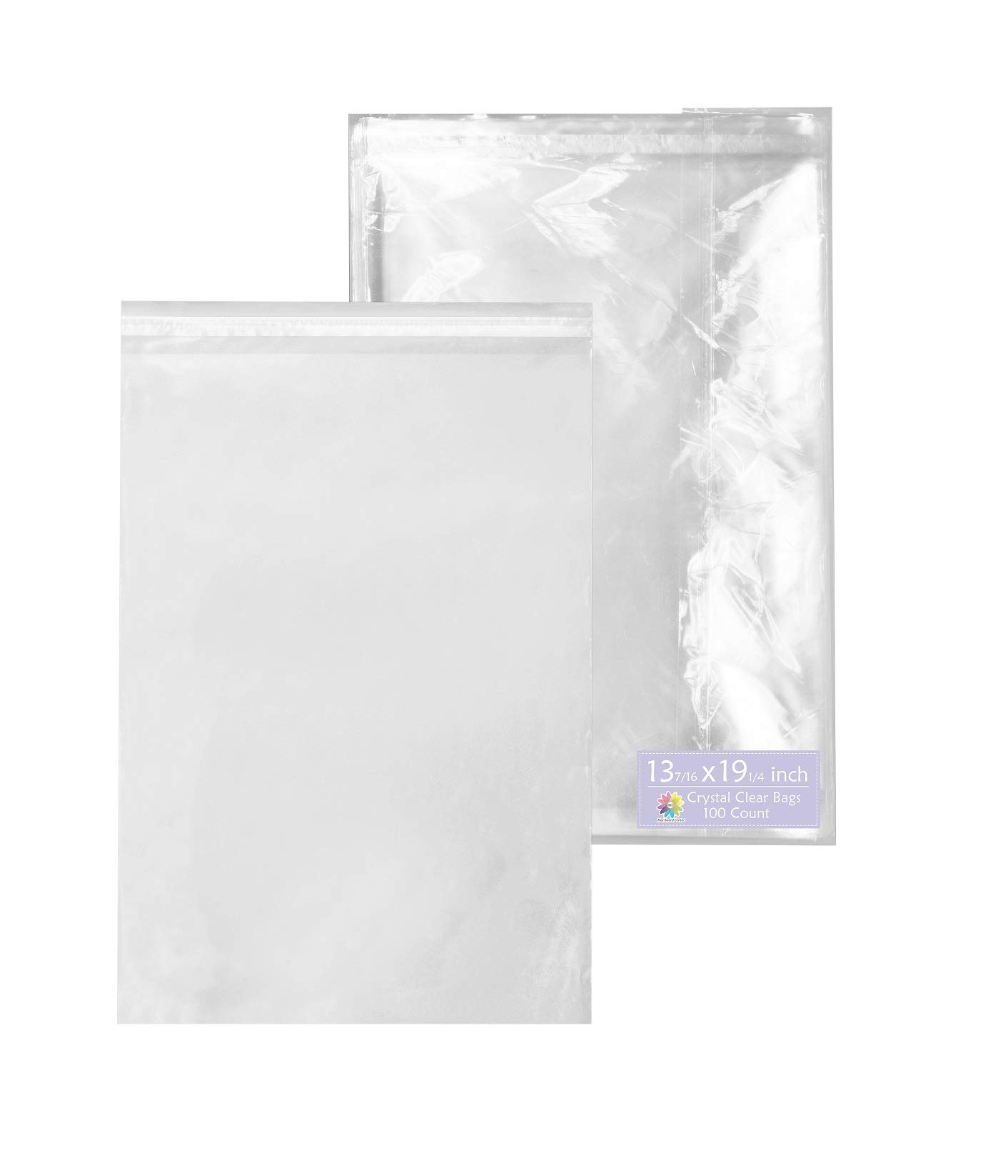 Mat Board Center, 13-7/16'' x 19-1/4'' Crystal Clear, Protective Polypropylene Storage Bags, with Flap, 100 Bags