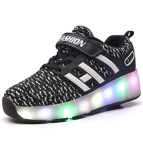 Unisex Recargable Led Luz Automática de Skate Zapatillas con Ruedas Zapatos Patines Deportes Zapatos para Niños Niñas: Amazon.es: Zapatos y complementos