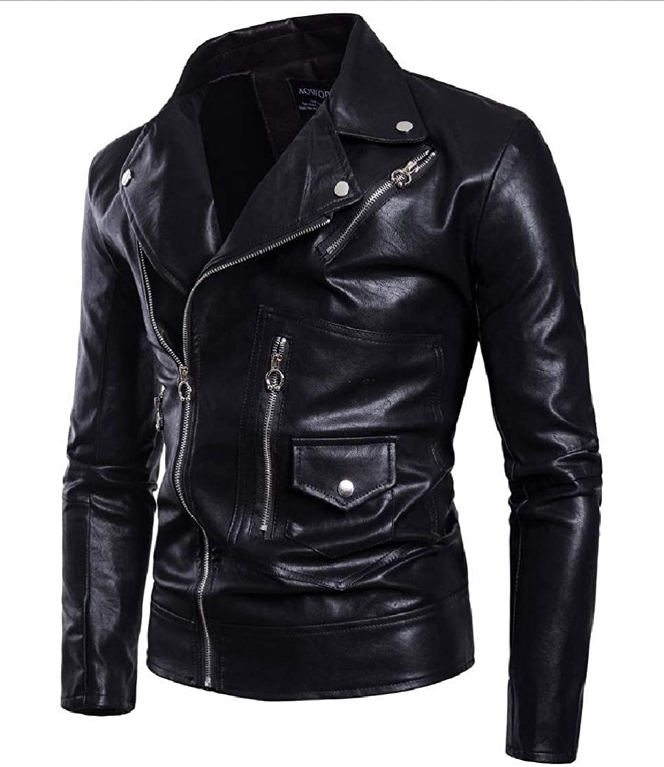 YUNY Men Zip Up Moto Outwear Coat Oversized Regular Fit Leather Jacket Black S