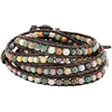 Emibele Layered Leather Bracelet, Rivet Leopard Print Bohemian Style Multilayer Wrap Bracelet, Handmade Agate Chakra Crystal