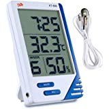 Samshow Digital Hygrometer Thermometer, Portable Humidity Temperature, Indoor Outdoor Temperature Sensor, Indoor Humidity Monitor, Digital Stand Alarm Clock Calendar, Pore Wire, White,Battery Included