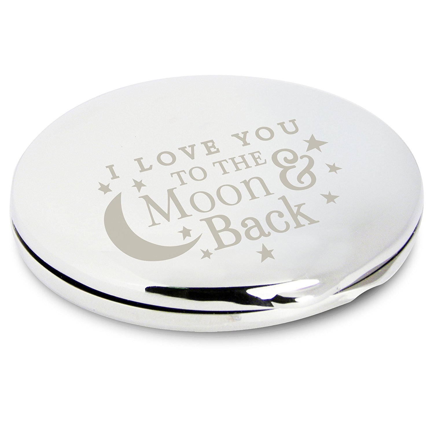 I LOVE YOU TO THE MOON AND BACK ROMANTIC Silver Engraved COMPACT MIRROR for my Girlfriend Wife Friend Her Novelty Keepsake Gifts Presents for Valentines Day Birthday Christmas Mothers Day Wedding Anniversary Mum Mummy Chris Bag of Goodies