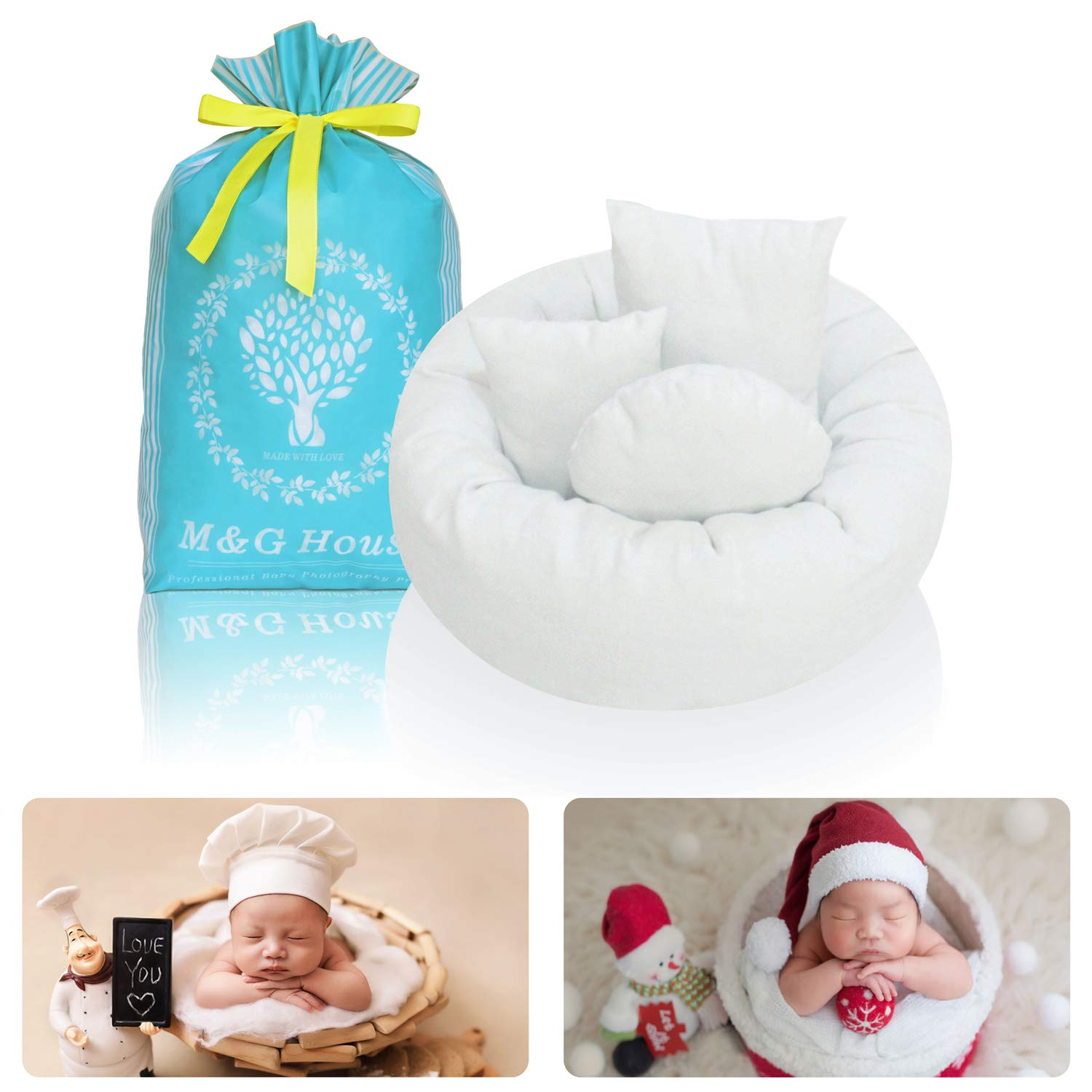 4PC Newborn Photo Props | Baby Photography Basket Pictures | Baby Shower Gift | Infant Posing Props (1 Photo Donut and 3 Posing Pillows) by M&G House