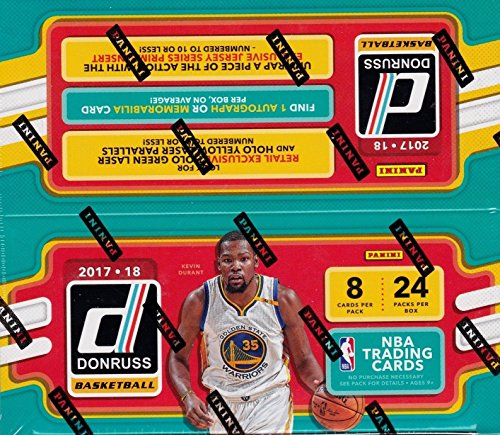 2017 2018 DONRUSS NBA Basketball Retail Series HUGE Unopened Box of Packs Containing 192 cards including One AUTOGRAPH or Memorabilia Card per box plus Retail EXCLUSIVE Inserts