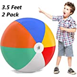 Inflatable Beach Balls Jumbo 42 inch for The Pool, Beach, Summer Parties, and Gifts   2 Pack Blow up Rainbow Color Beach…