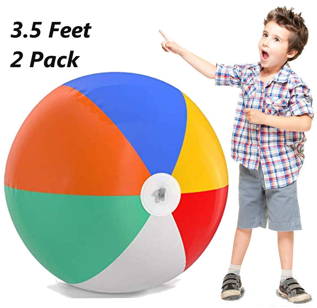 Inflatable Beach Balls Jumbo 42 inch for The Pool, Beach, Summer Parties, and Gifts | 2 Pack Blow up Rainbow Color Beach Balls (2 Balls) (42 inch) by Top Race
