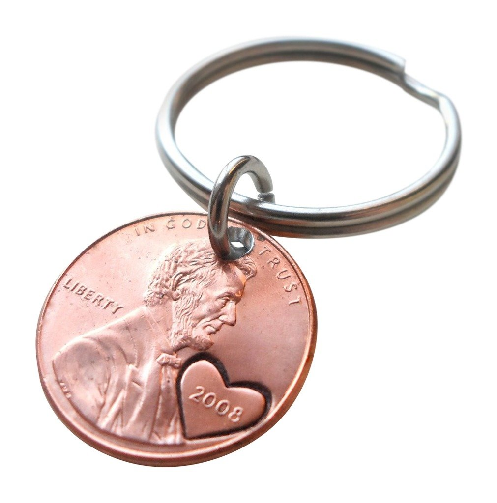 Amazon 2008 Us One Cent Penny Keychain With Heart Around Year