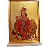 Gopal Krishna with Cow Desk Dashboard Gold Acrylic Frame Art Hindu Altar Yoga Meditation Accessory Gift