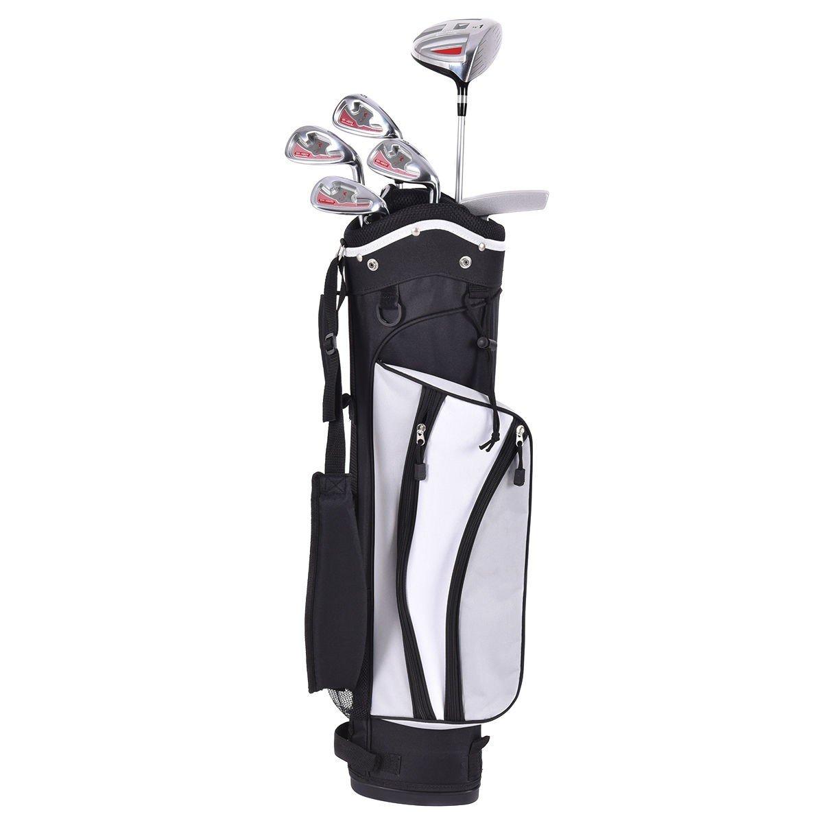 MD Group 木製アイアンパター ゴルフクラブセット 6点セット スタンドバッグ付き シルバー   B07QG492Q2