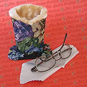 Dark Tapestry Eyeglass Stand Holder with cleaning Cloth, Protect & Store