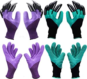 Claw Gardening Gloves for Digging and Planting, Best Gift for Gardener and Women(Purple 2 pairs and Green 2 pairs)