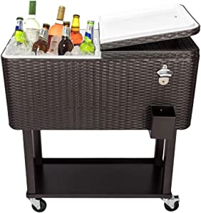Drink Cooler Cart Portable Rolling Patio Cooler Trolley 80 Quart with Wheels, Shelf, Bottle Opener & Drain Pipe Ice Freezer Trolley by Amebee for Backyard Party Drink Beverage Bar (Rattan Slim)