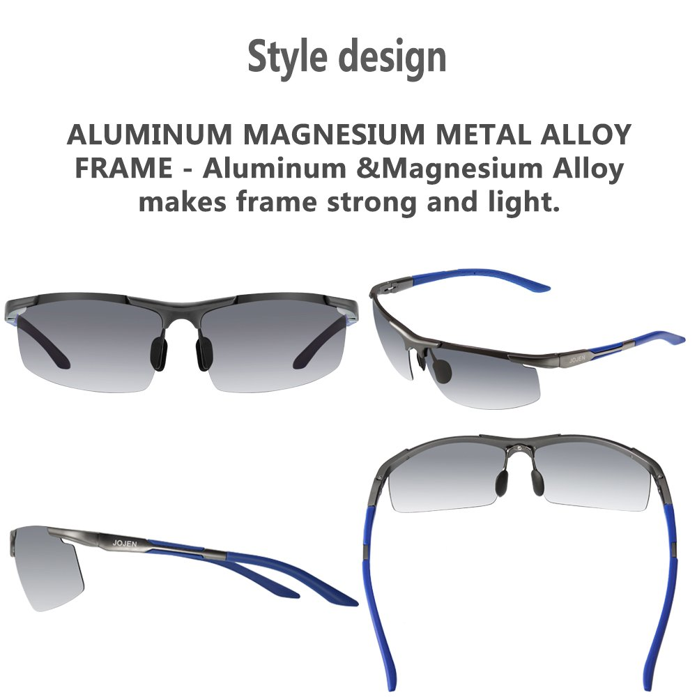 b6d6105605d Amazon.com  JOJEN Men s Polarized Sports Sunglasses for Men Driving Cycling  Running Fishing Golf Al-Mg Metal Ultra Light Frame JE018(Black   Blue Frame  Blue ...