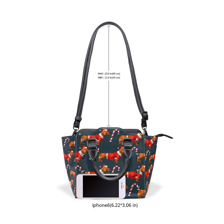 1e46a59e9f Amazon.com  DEYYA Women Dachshund Dog Polygon Zip Closure Shoulder Bag  Top-Handle Handbags PU Leather  Shoes .