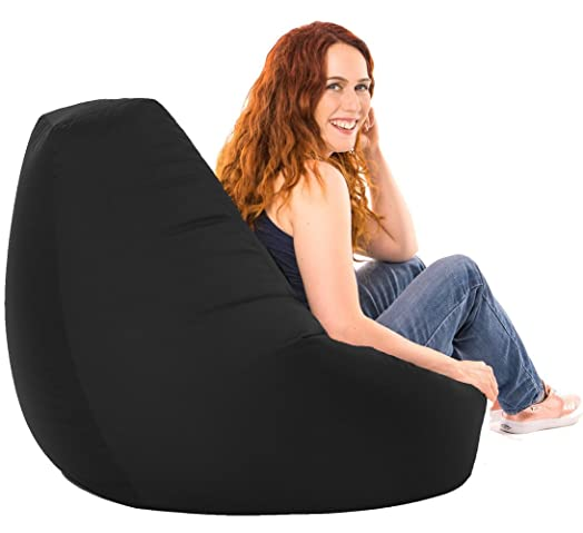 XX L Black Highback Beanbag Chair Water Resistant Bean Bags For Indoor And Outdoor Use