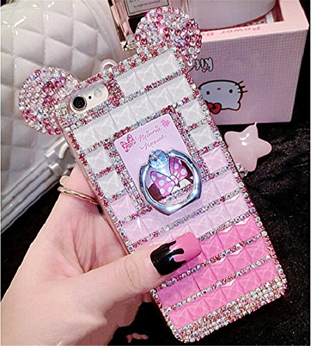 Bling Samsung Galaxy Grand Prime G530/G531 Diamond Case With Chain,Chanyaozy[DIY][Luxury][Stand]Glitter Diamond Mouse Ears Soft Rubber Case (Rose With Ring (Diy Minnie Ears)