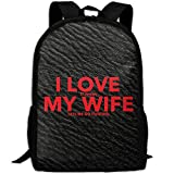 Letter Print Love Wife Double Shoulder Backpacks For Adults Traveling Bags Full Print Fashion
