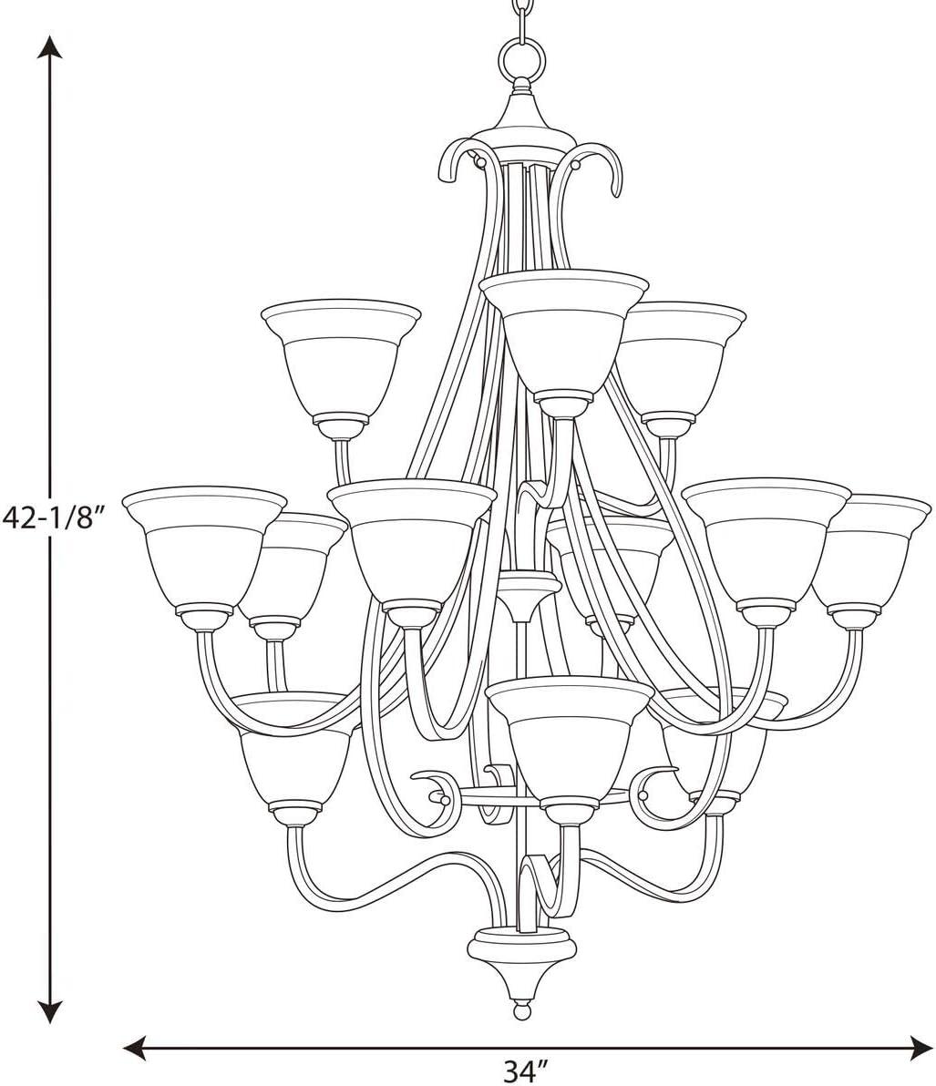 Progress Lighting P4419-77 Torino Twelve-Light Foyer Pendant, 34 x 42-1 8 , Forged Bronze
