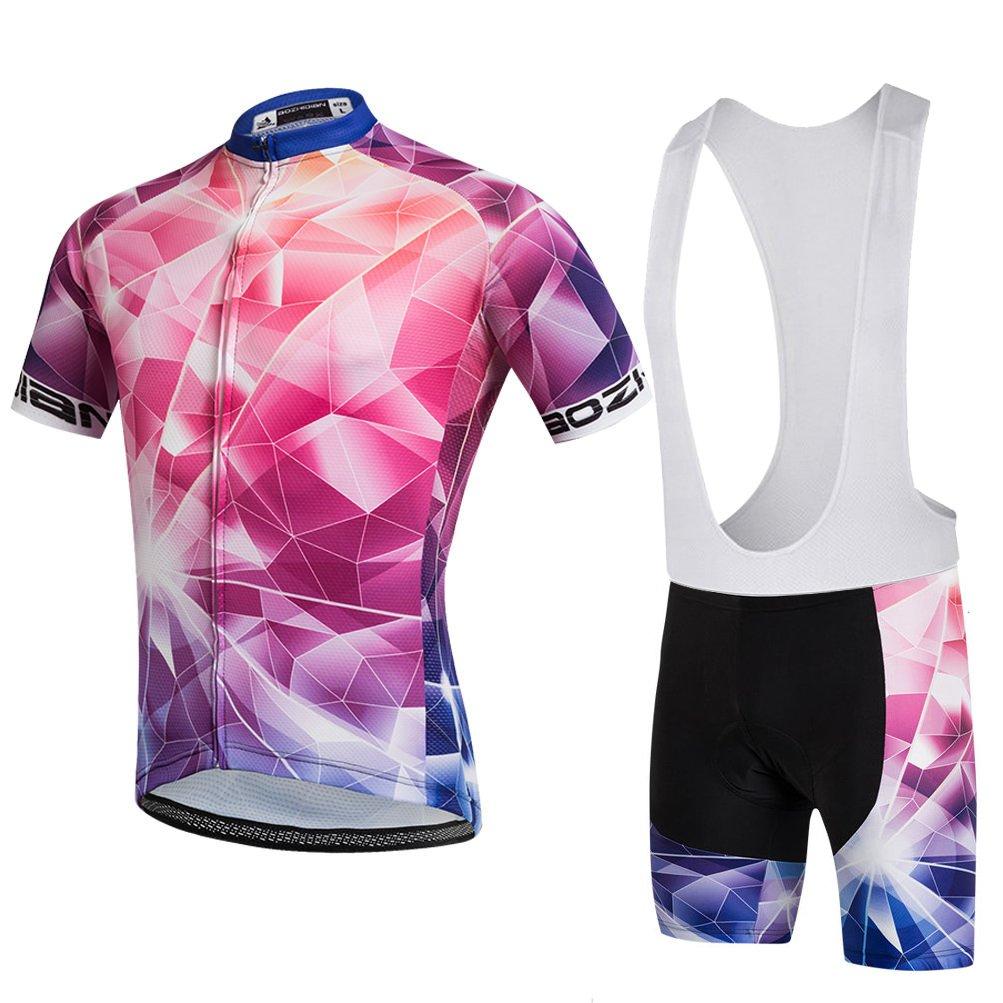 Uriah Women 's Cycling JerseyホワイトBib Shortsセット半袖3d Gelパッド入り B078TDWZKT  Crystal Red Chest 46.4''=Tag XXXL