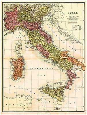 Amazon.com: MAP of ITALY, SARDINIA & SICILY by J. Bartholomew circa ...