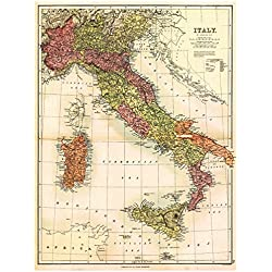 "MAP of ITALY, SARDINIA & SICILY by J. Bartholomew circa 1890 - measures 32"" high x 24"" wide (813mm high x 610mm wide)"